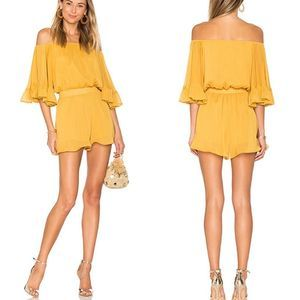 Endless Rose Yellow Off The Shoulder Ruffle Romper